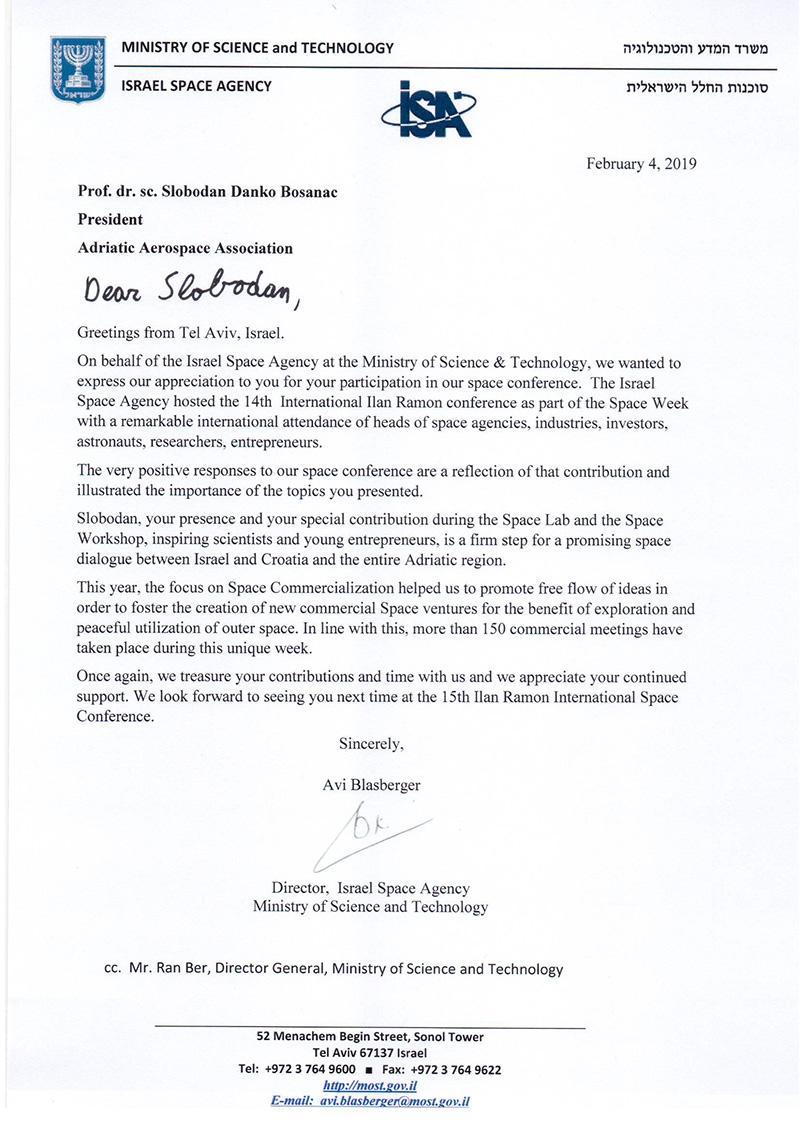 Pismo zahvale direktora Avia Blasbergera Izraelske Svemirske Agencije
